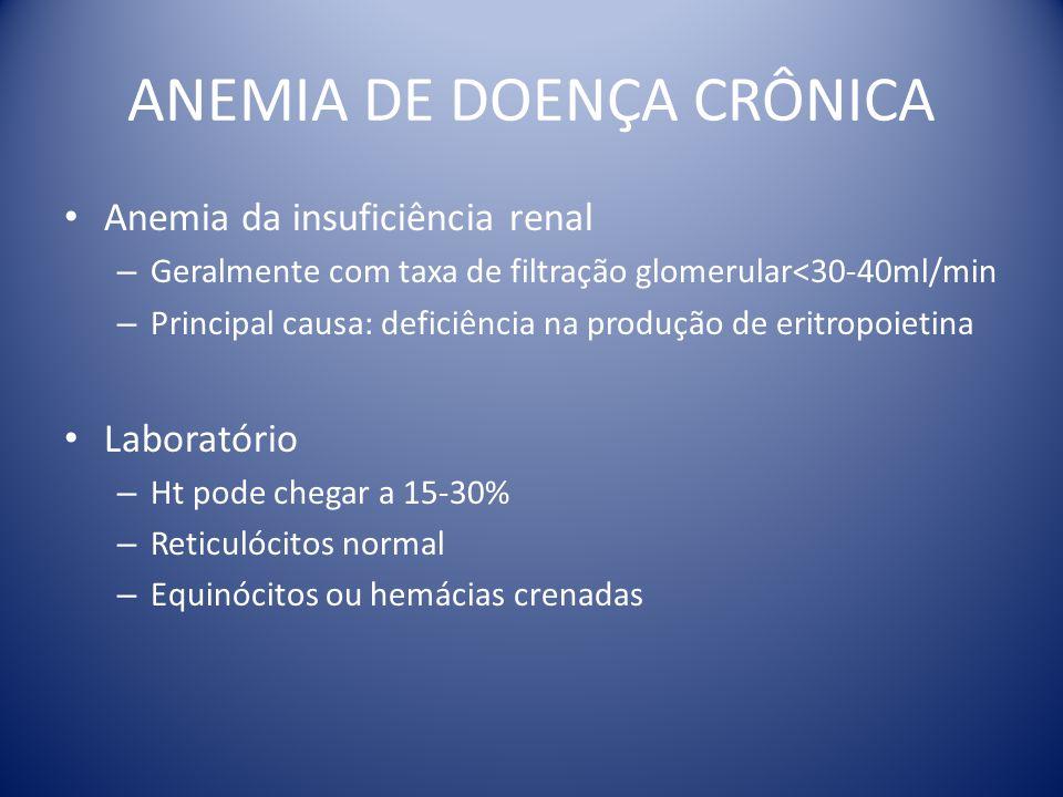ANEMIA DE DOENÇA CRÔNICA Anemia da insuficiência renal – Geralmente com taxa de filtração glomerular<30-40ml/min – Principal causa: deficiência na pro