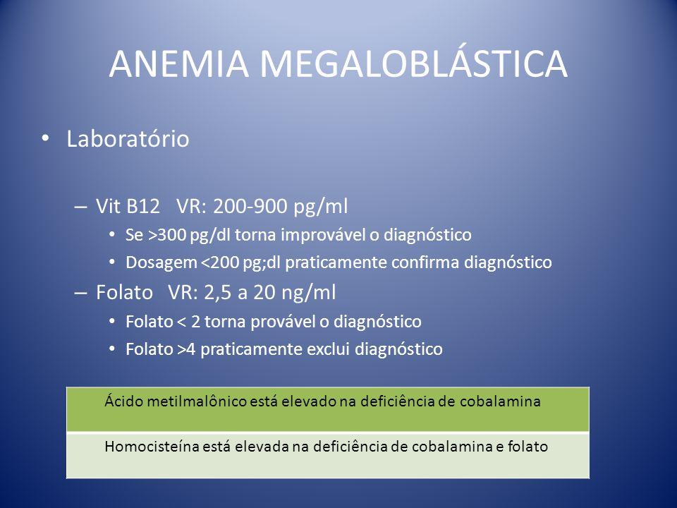 ANEMIA MEGALOBLÁSTICA Laboratório – Vit B12 VR: 200-900 pg/ml Se >300 pg/dl torna improvável o diagnóstico Dosagem <200 pg;dl praticamente confirma di