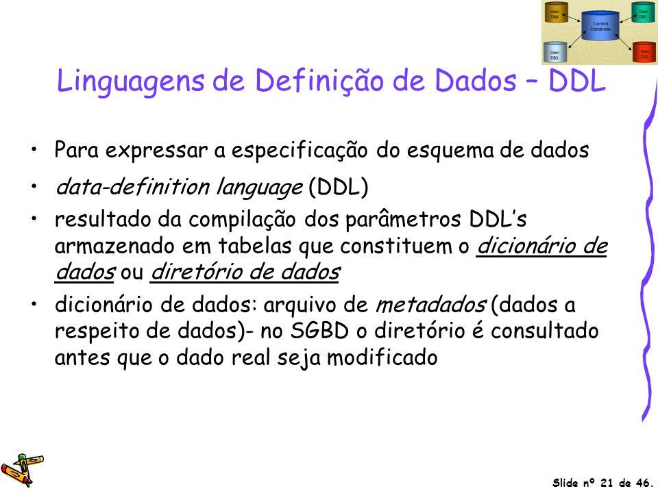Slide nº 21 de 46. Linguagens de Definição de Dados – DDL Para expressar a especificação do esquema de dados data-definition language (DDL) resultado