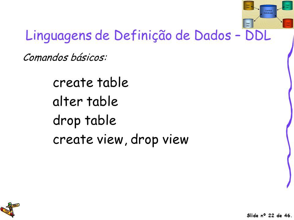 Slide nº 22 de 46. Linguagens de Definição de Dados – DDL create table alter table drop table create view, drop view Comandos básicos: