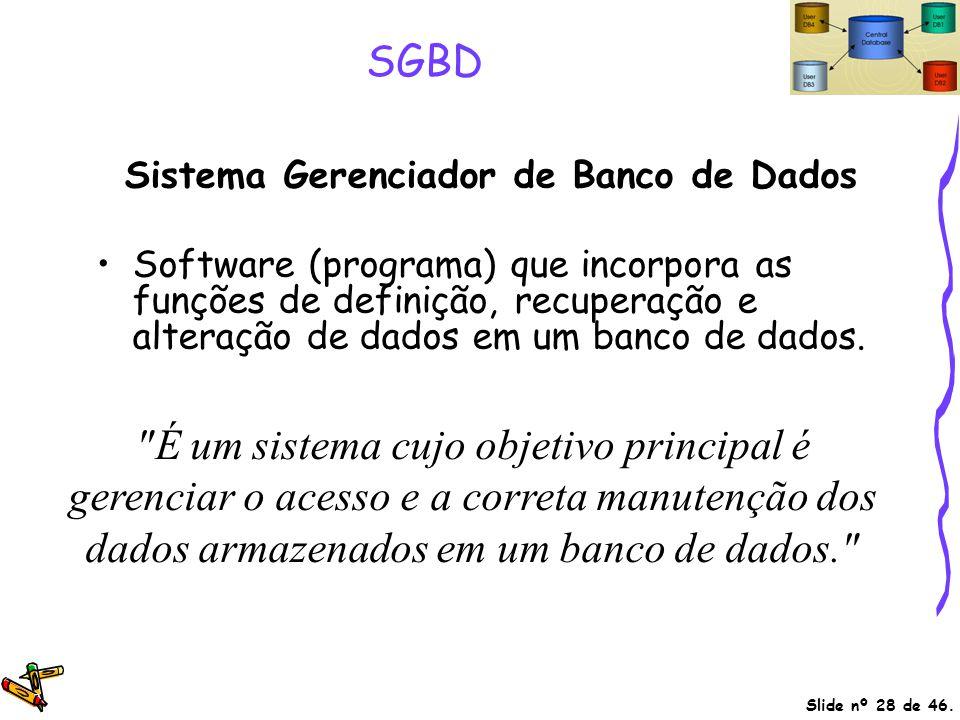 Slide nº 28 de 46. SGBD Sistema Gerenciador de Banco de Dados Software (programa) que incorpora as funções de definição, recuperação e alteração de da