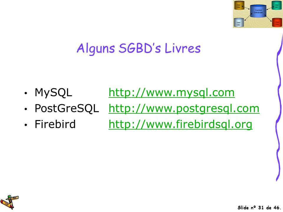 Slide nº 31 de 46. Alguns SGBD's Livres MySQLhttp://www.mysql.comhttp://www.mysql.com PostGreSQLhttp://www.postgresql.comhttp://www.postgresql.com Fir
