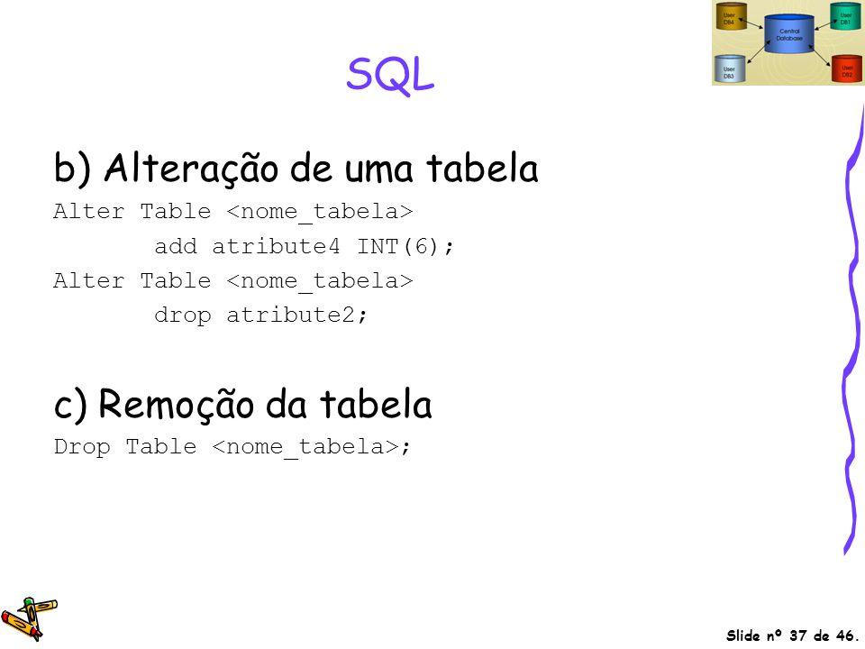 Slide nº 37 de 46. SQL b) Alteração de uma tabela Alter Table add atribute4 INT(6); Alter Table drop atribute2; c) Remoção da tabela Drop Table ;