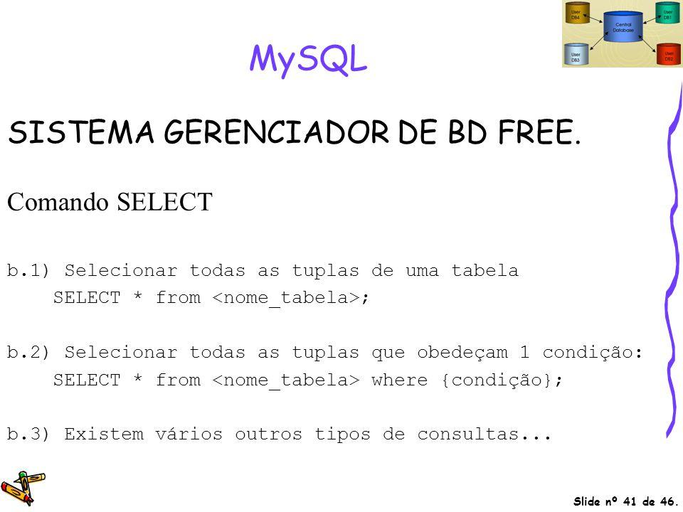 Slide nº 41 de 46. MySQL SISTEMA GERENCIADOR DE BD FREE. Comando SELECT b.1) Selecionar todas as tuplas de uma tabela SELECT * from ; b.2) Selecionar