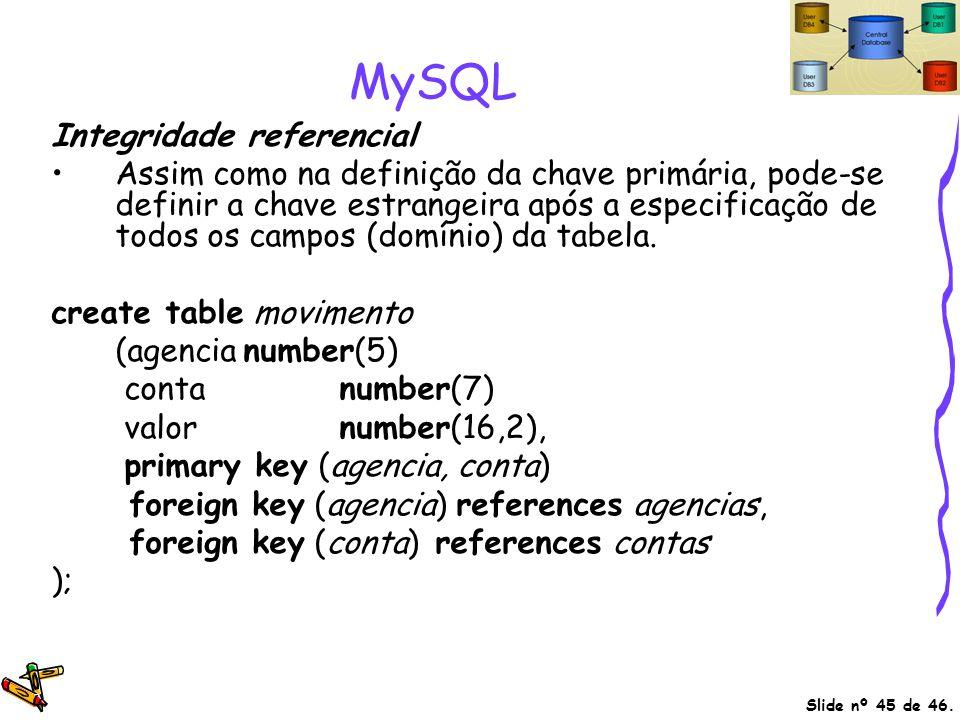 Slide nº 45 de 46. MySQL Integridade referencial Assim como na definição da chave primária, pode-se definir a chave estrangeira após a especificação d