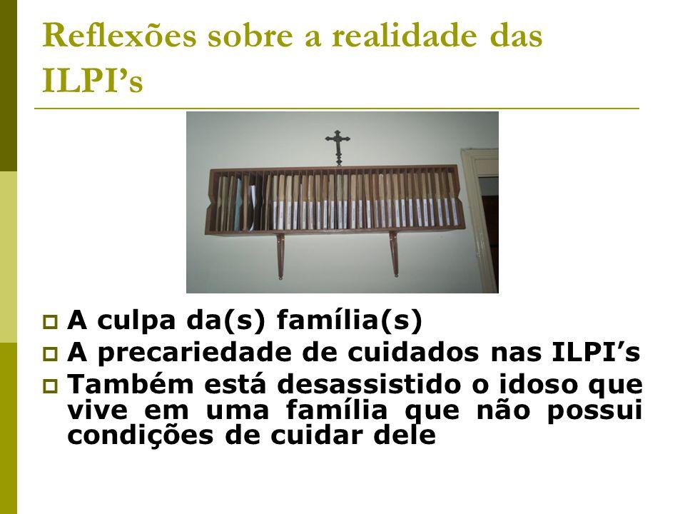 O idoso que mora em ILPI  Em Belo Horizonte, não há ILPI's públicas  1680 idosos moram em ILPI's  1073 em ILPI's ditas de caráter filantrópico  A Assistência Social utiliza vagas a partir de conveniamento das ILPI's à PBH.