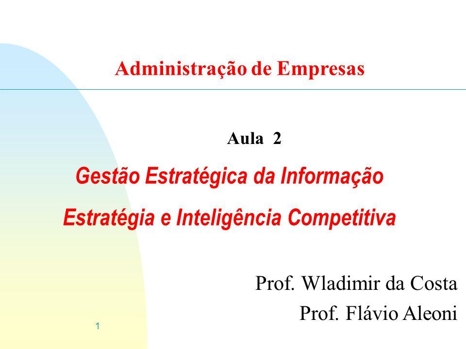1 Gestão Estratégica da Informação Estratégia e Inteligência Competitiva Prof.