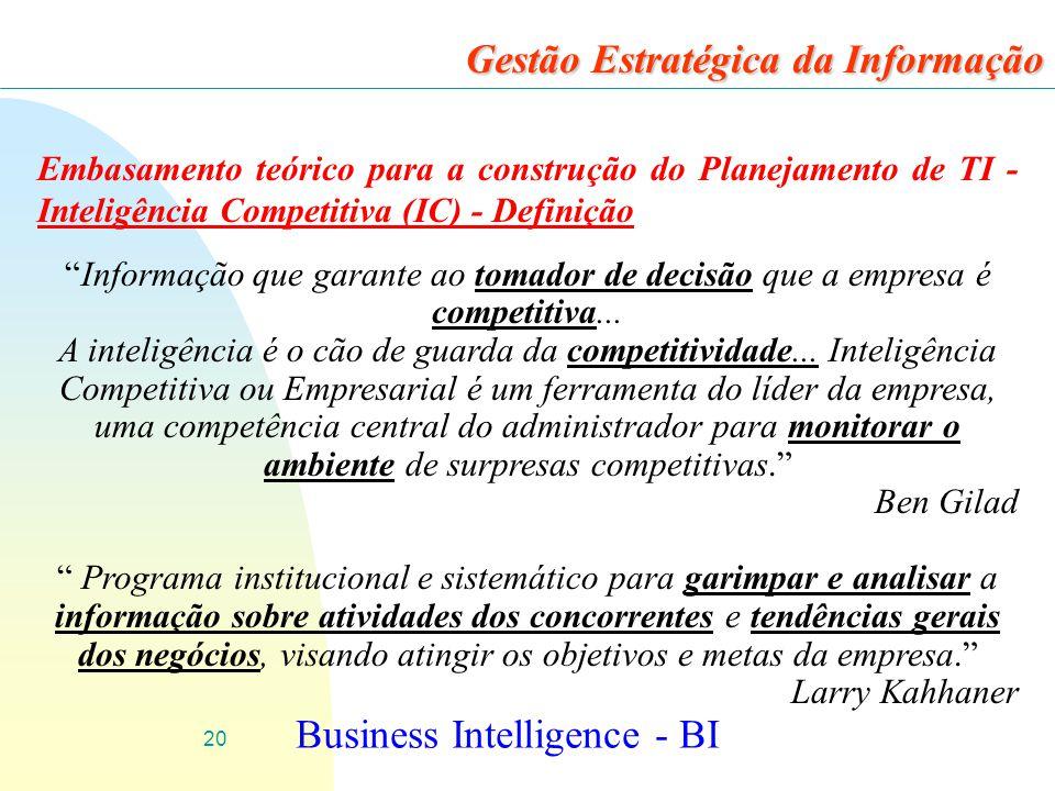 20 Gestão Estratégica da Informação Embasamento teórico para a construção do Planejamento de TI - Inteligência Competitiva (IC) - Definição Informação que garante ao tomador de decisão que a empresa é competitiva...