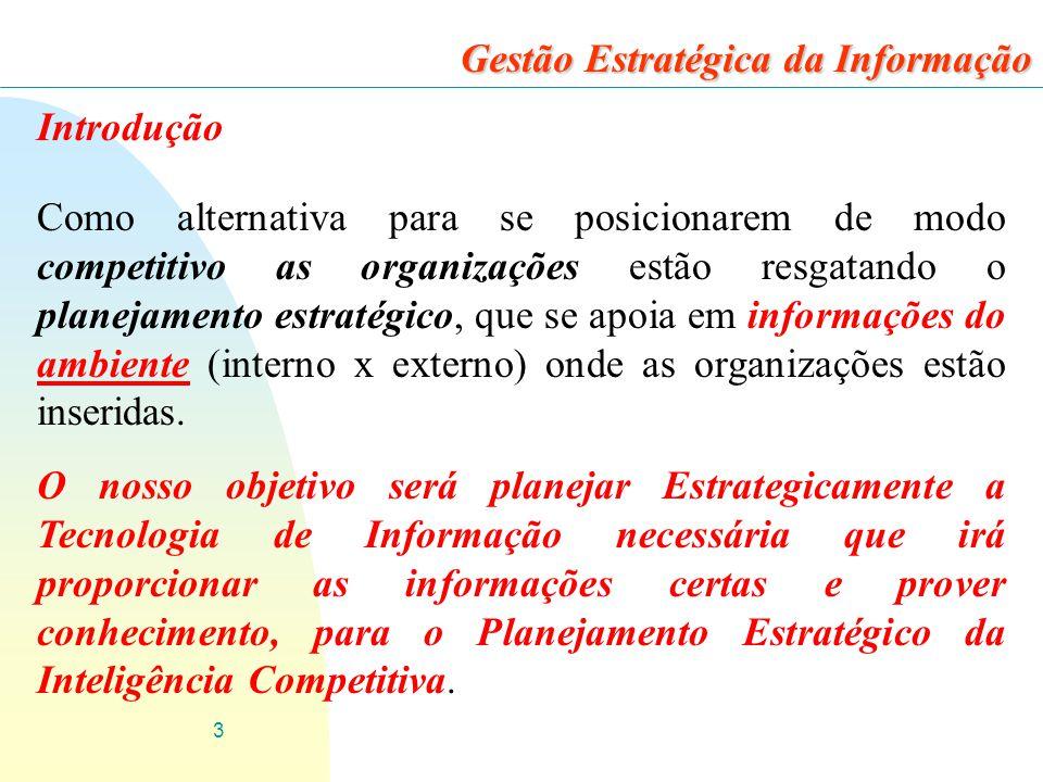 3 Introdução Como alternativa para se posicionarem de modo competitivo as organizações estão resgatando o planejamento estratégico, que se apoia em informações do ambiente (interno x externo) onde as organizações estão inseridas.