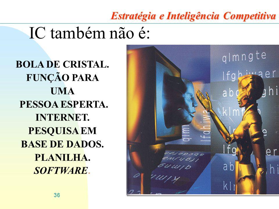 36 IC também não é: BOLA DE CRISTAL.FUNÇÃO PARA UMA PESSOA ESPERTA.