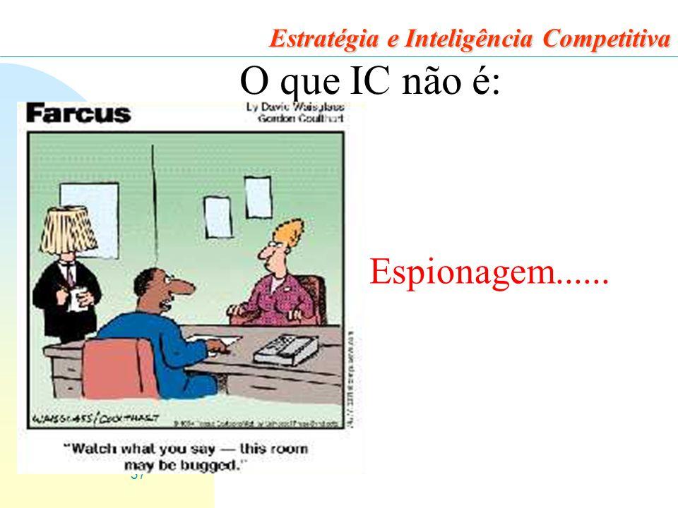 37 Estratégia e Inteligência Competitiva O que IC não é: Espionagem......