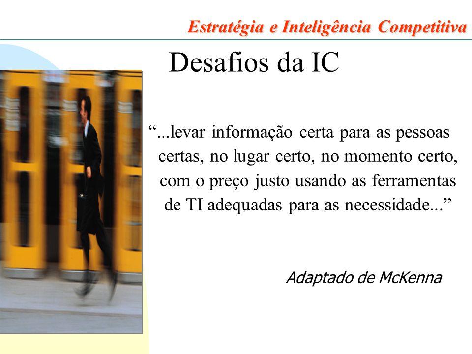 39 Estratégia e Inteligência Competitiva Desafios da IC ...levar informação certa para as pessoas certas, no lugar certo, no momento certo, com o preço justo usando as ferramentas de TI adequadas para as necessidade... Adaptado de McKenna