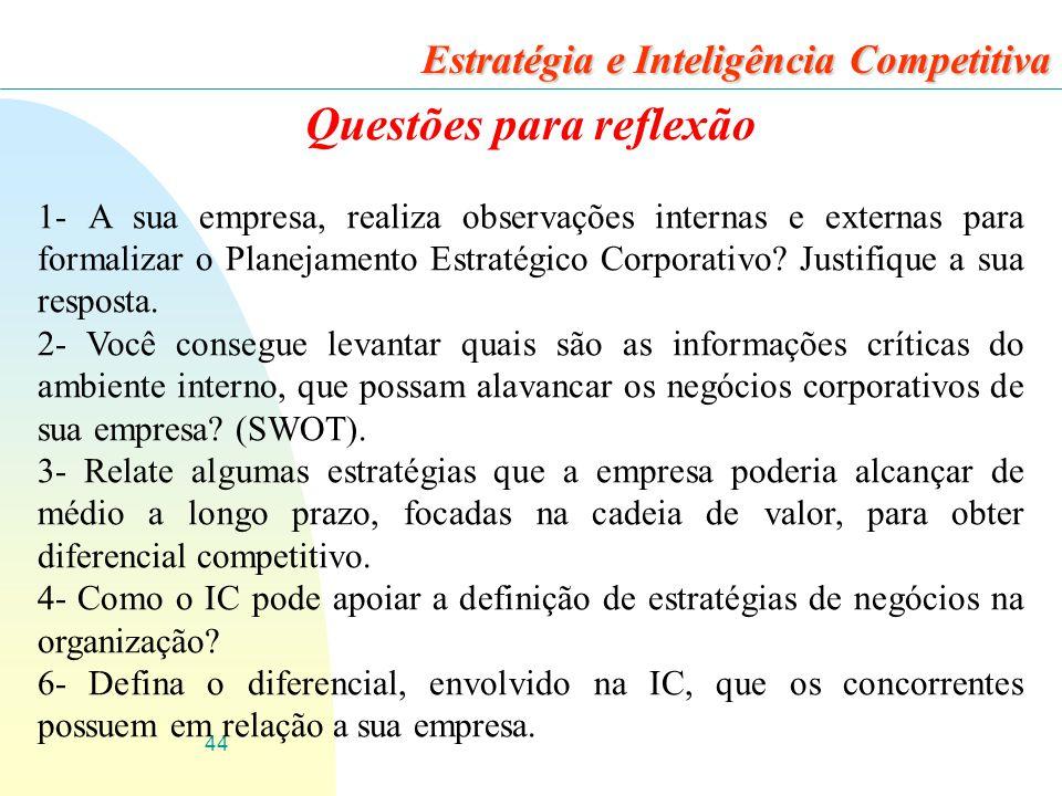 44 Estratégia e Inteligência Competitiva Questões para reflexão 1- A sua empresa, realiza observações internas e externas para formalizar o Planejamento Estratégico Corporativo.