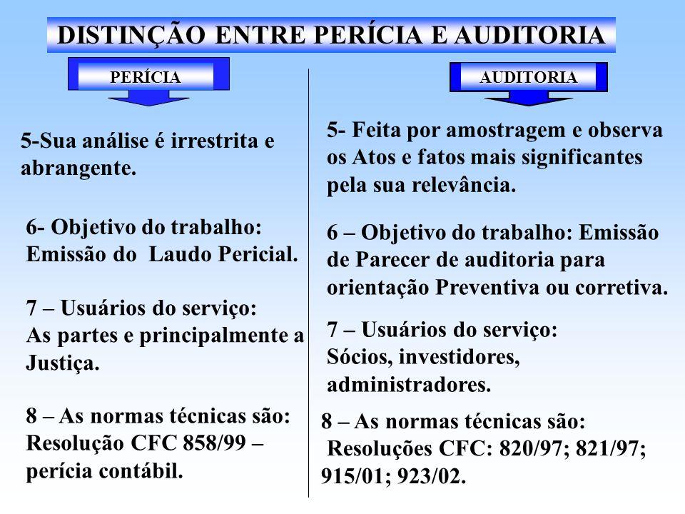 PERÍCIA DISTINÇÃO ENTRE PERÍCIA E AUDITORIA 1- Executada somente por pessoa física, profissional de nível universitário(art.