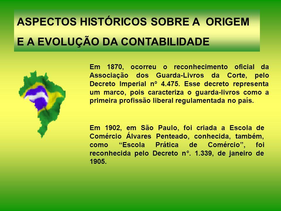 ASPECTOS HISTÓRICOS SOBRE A ORIGEM E A EVOLUÇÃO DA CONTABILIDADE Os primeiros profissionais da Contabilidade que chegaram ao Brasil eram Contadores formados em Portugal, por volta do século XVIII.