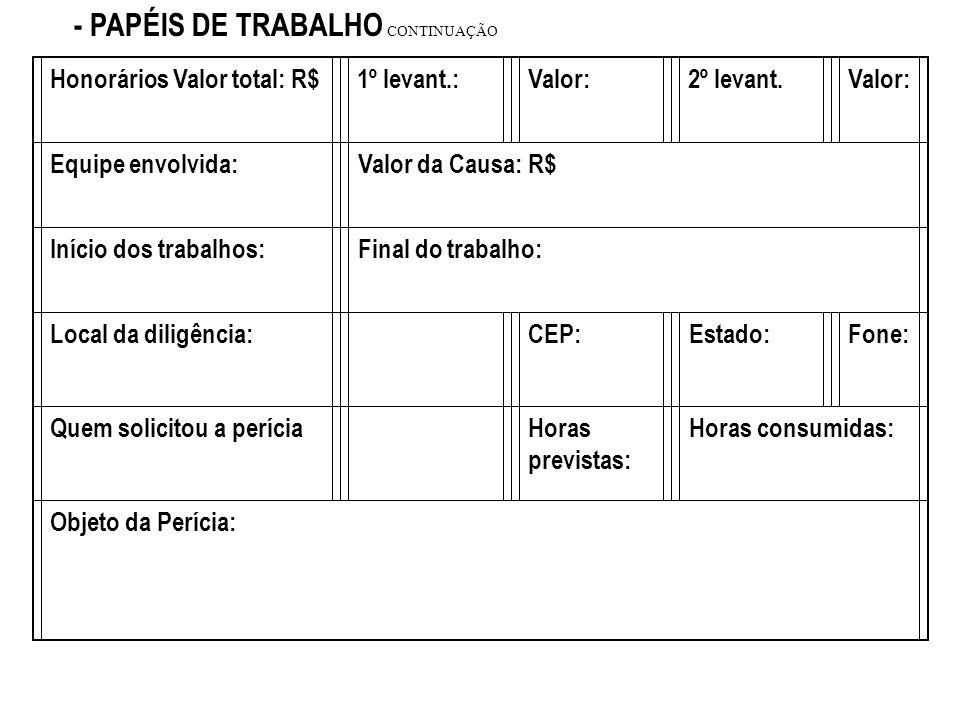 - PAPÉIS DE TRABALHO PERITA: SOLANGE PETRENCON.