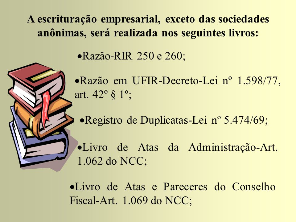 A escrituração empresarial, exceto das sociedades anônimas, será realizada nos seguintes livros:  Livro de registro de códigos e abreviaturas, art.