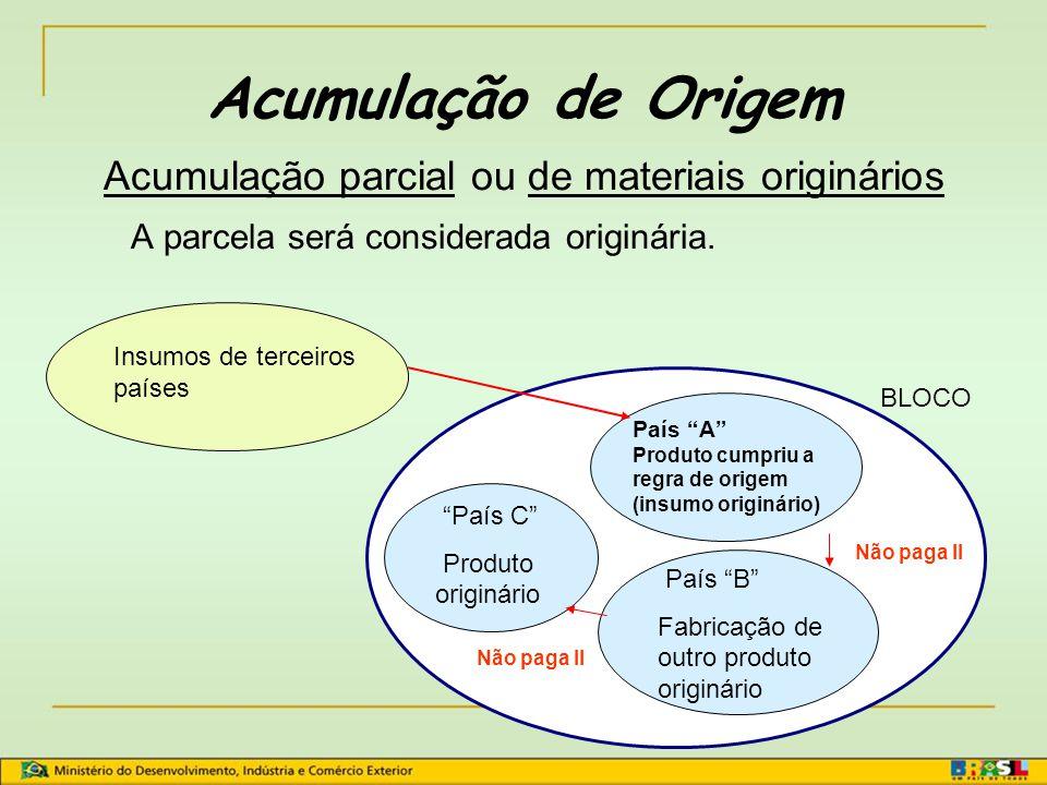 Critério de Transformações Específicas Considera o processo produtivo.