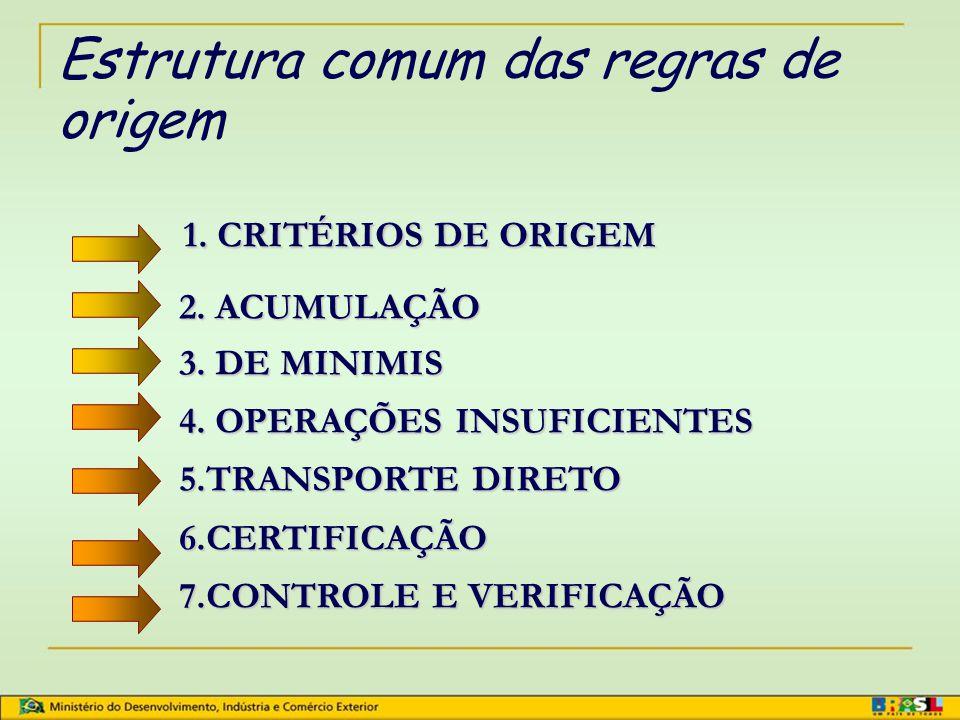 Regras Gerais e Requisitos Específicos de Origem  Regras Gerais - regras para todos os produtos não contemplados com regras específicas.