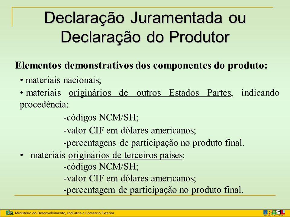 Certificado de Origem Validade do Certificado de Origem: 180 dias Requisitos para emissão: –Fatura comercial (90 dias) –Declaração juramentada ou Declaração do produtor (180 dias)