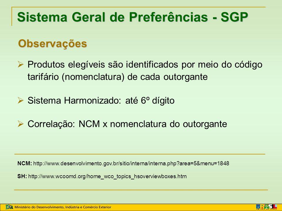 Sistema Geral de Preferências - SGP  Características do SGP: Não discriminatório (exceto em benefício dos países menos desenvolvidos) Temporário Requisitos PRODUTO ORIGINÁRIO TRANSFORMAÇÃO SUFICIENTE TRANSPORTE DIRETO CERTIFICADO DE ORIGEM FORM A