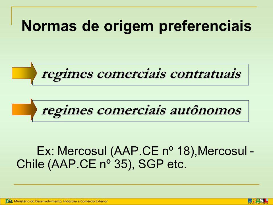 CONCEITO DE REGRAS DE ORIGEM Normas de origem preferenciais Normas de origem não preferenciais