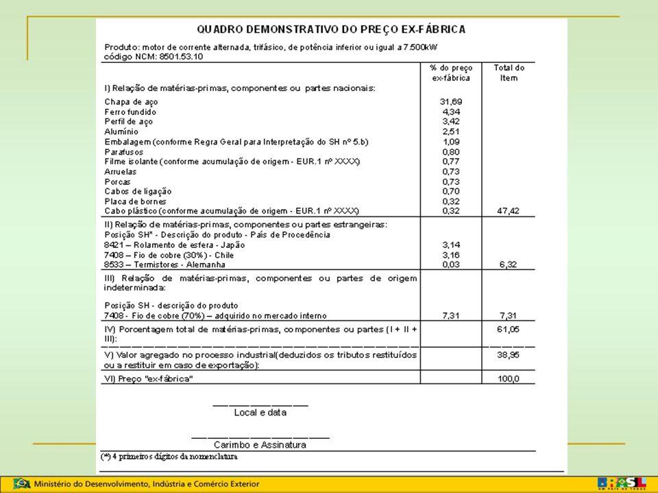 Sistema Geral de Preferências - SGP Lembrar: Quadro Demonstrativo de Preços + Processo produtivo = Têxteis com matéria-prima sintética ou artificial, produtos químicos etc Produtor é o exportadorQDP do produtor Produtor não é o exportadorQDP do produtor QDP do exportador