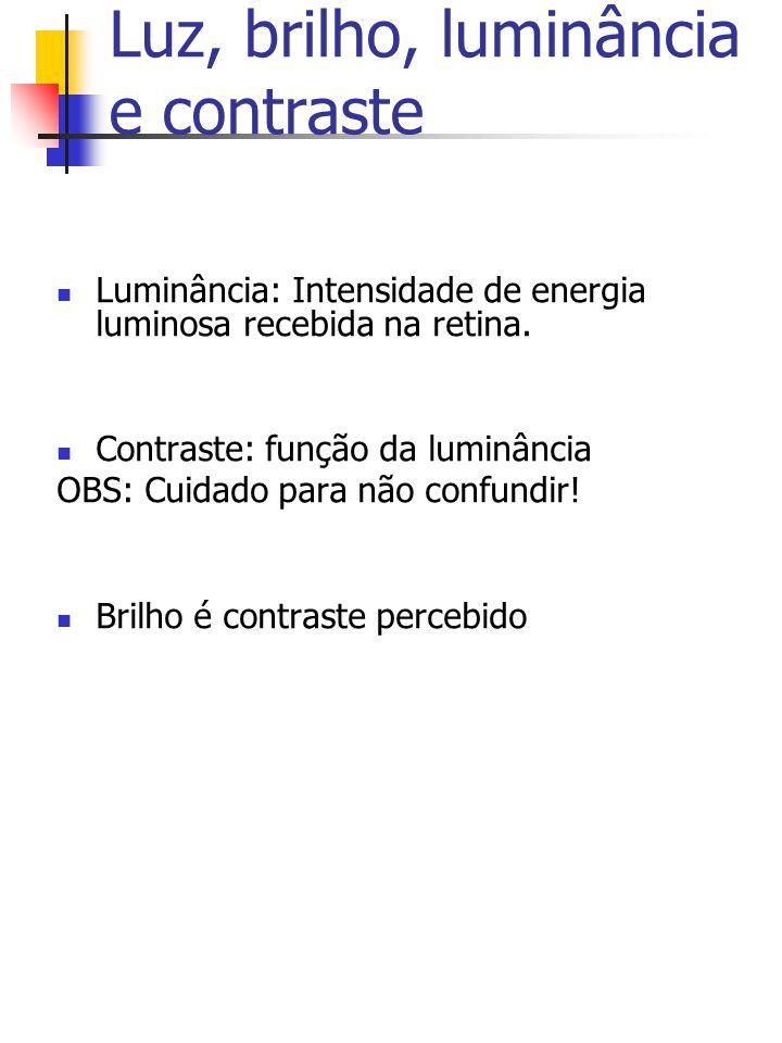 Luz, brilho, luminância e contraste Luminância: Intensidade de energia luminosa recebida na retina.