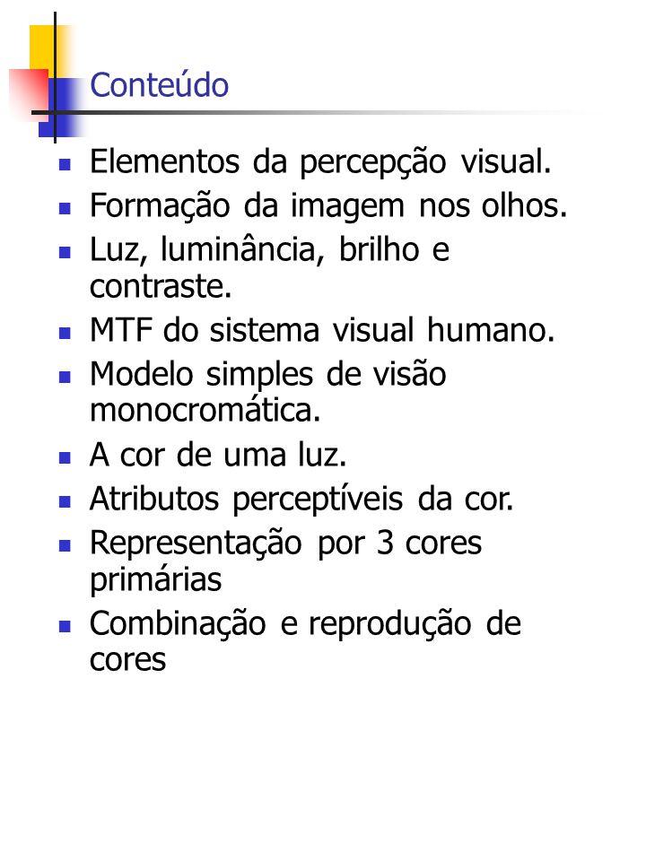 Conteúdo Elementos da percepção visual.Formação da imagem nos olhos.