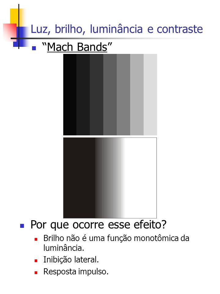 Luz, brilho, luminância e contraste Mach Bands Por que ocorre esse efeito.