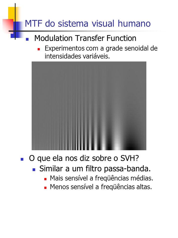 MTF do sistema visual humano Modulation Transfer Function Experimentos com a grade senoidal de intensidades variáveis.