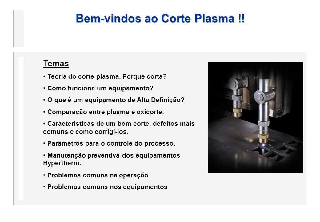 Bem-vindos ao Corte Plasma !! Temas Teoria do corte plasma. Porque corta? Como funciona um equipamento? O que é um equipamento de Alta Definição? Comp
