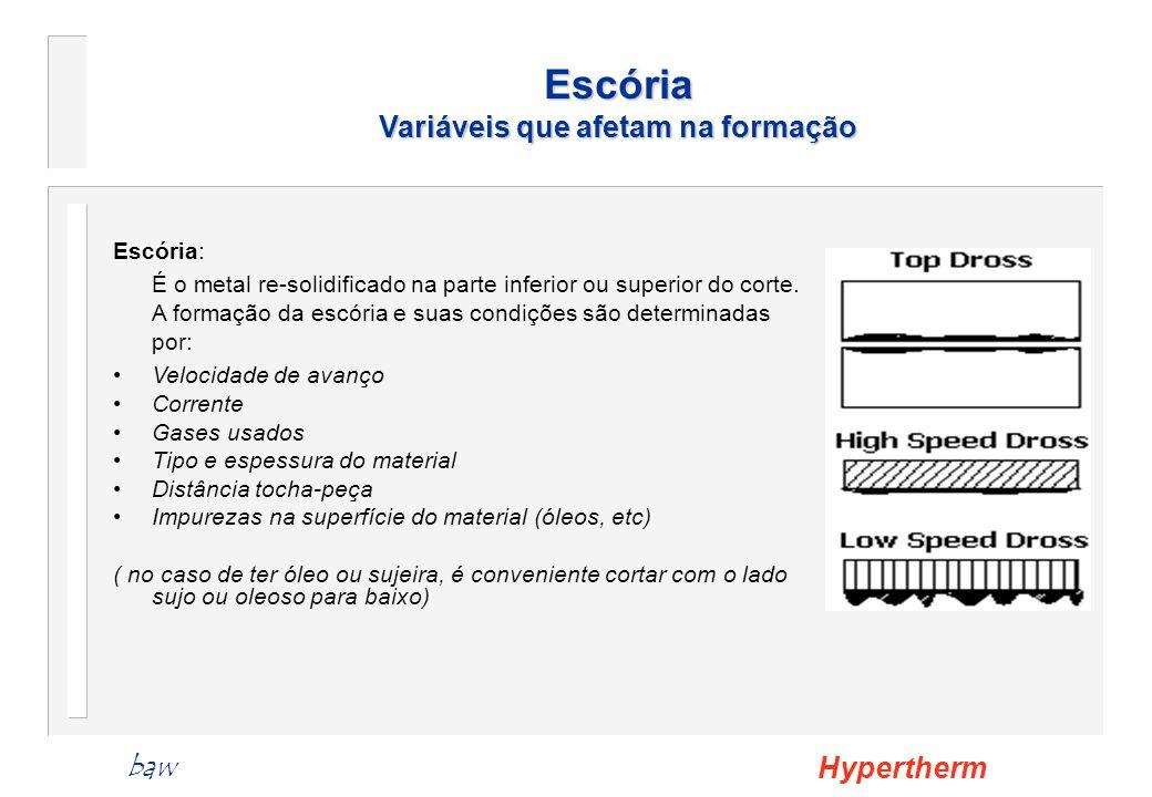 Escória: É o metal re-solidificado na parte inferior ou superior do corte. A formação da escória e suas condições são determinadas por: Velocidade de