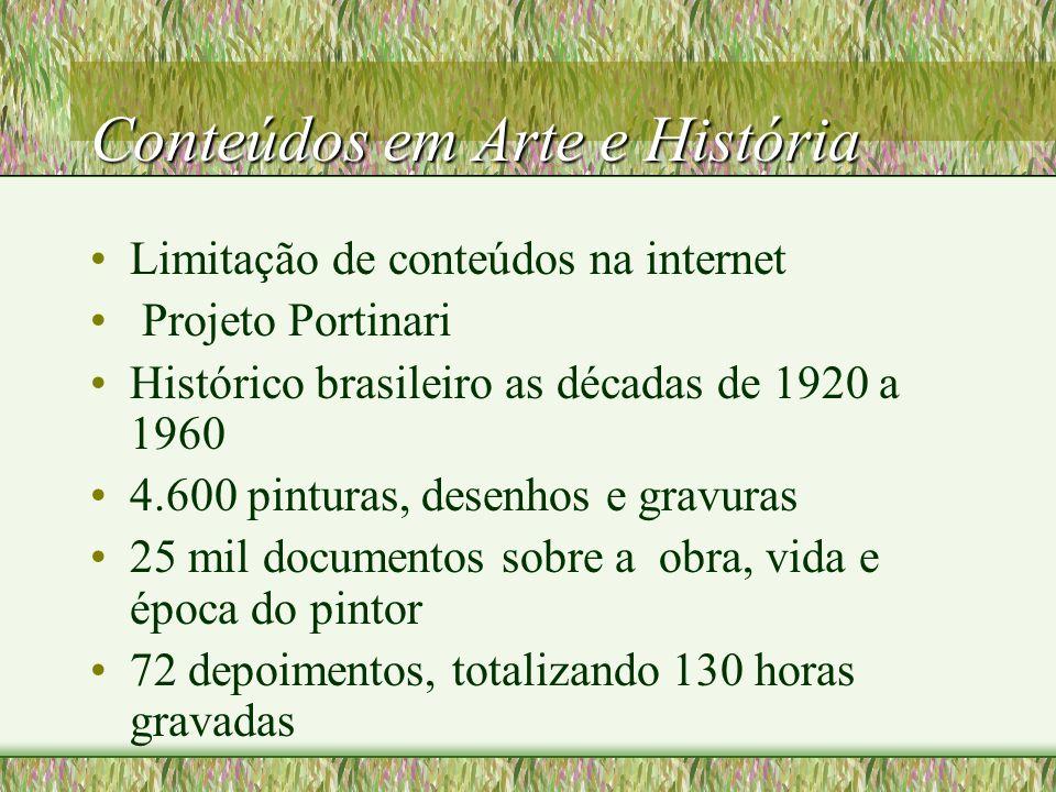 Conteúdos em Arte e História Limitação de conteúdos na internet Projeto Portinari Histórico brasileiro as décadas de 1920 a 1960 4.600 pinturas, desenhos e gravuras 25 mil documentos sobre a obra, vida e época do pintor 72 depoimentos, totalizando 130 horas gravadas