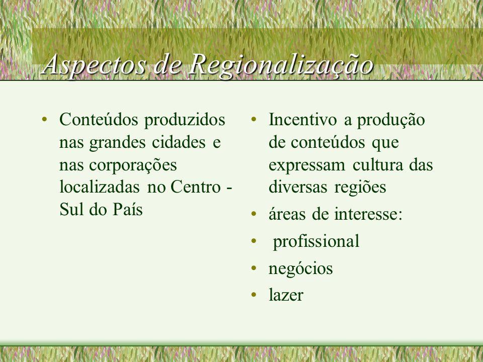 Aspectos de Regionalização Conteúdos produzidos nas grandes cidades e nas corporações localizadas no Centro - Sul do País Incentivo a produção de conteúdos que expressam cultura das diversas regiões áreas de interesse: profissional negócios lazer