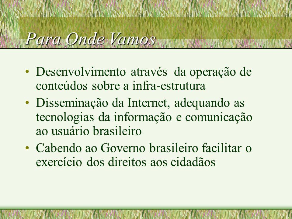Para Onde Vamos Desenvolvimento através da operação de conteúdos sobre a infra-estrutura Disseminação da Internet, adequando as tecnologias da informação e comunicação ao usuário brasileiro Cabendo ao Governo brasileiro facilitar o exercício dos direitos aos cidadãos