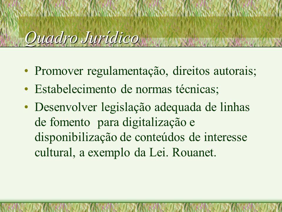 Quadro Jurídico Promover regulamentação, direitos autorais; Estabelecimento de normas técnicas; Desenvolver legislação adequada de linhas de fomento para digitalização e disponibilização de conteúdos de interesse cultural, a exemplo da Lei.