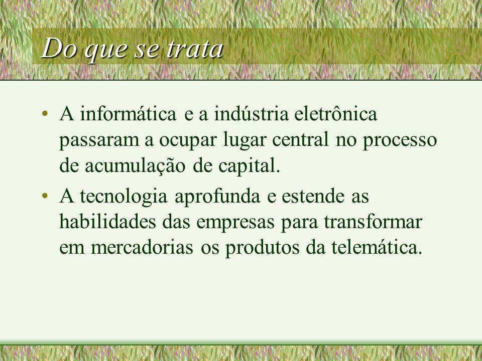 Do que se trata A informática e a indústria eletrônica passaram a ocupar lugar central no processo de acumulação de capital.