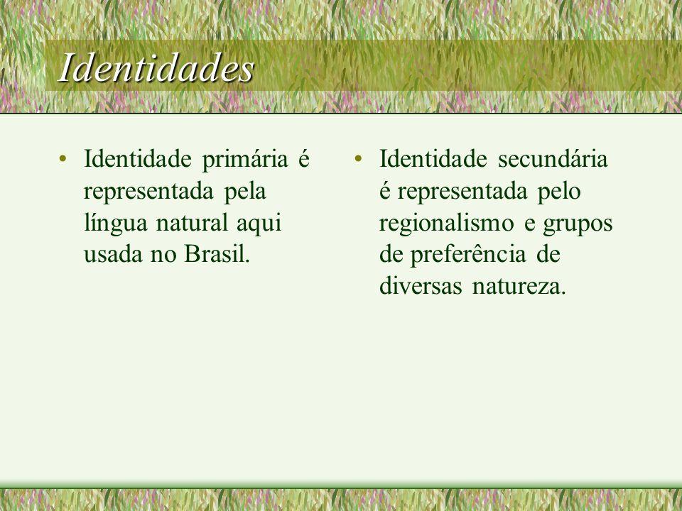 Identidades Identidade primária é representada pela língua natural aqui usada no Brasil.