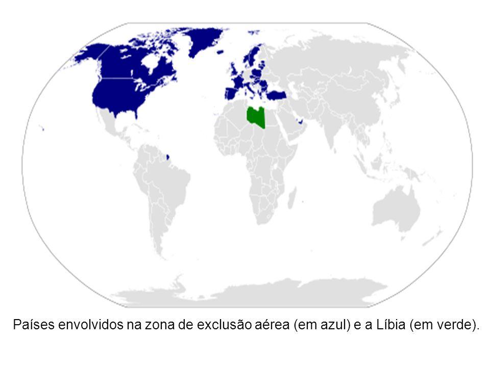 Países envolvidos na zona de exclusão aérea (em azul) e a Líbia (em verde).