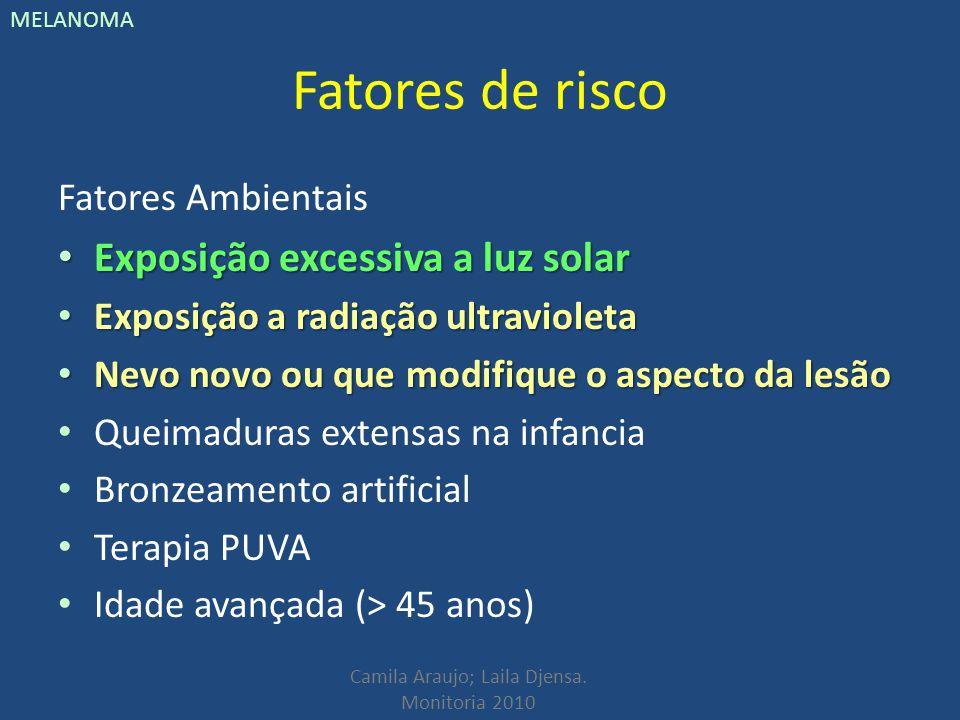 Camila Araujo; Laila Djensa. Monitoria 2010 MELANOMA Fatores de risco Fatores Ambientais Exposição excessiva a luz solar Exposição excessiva a luz sol