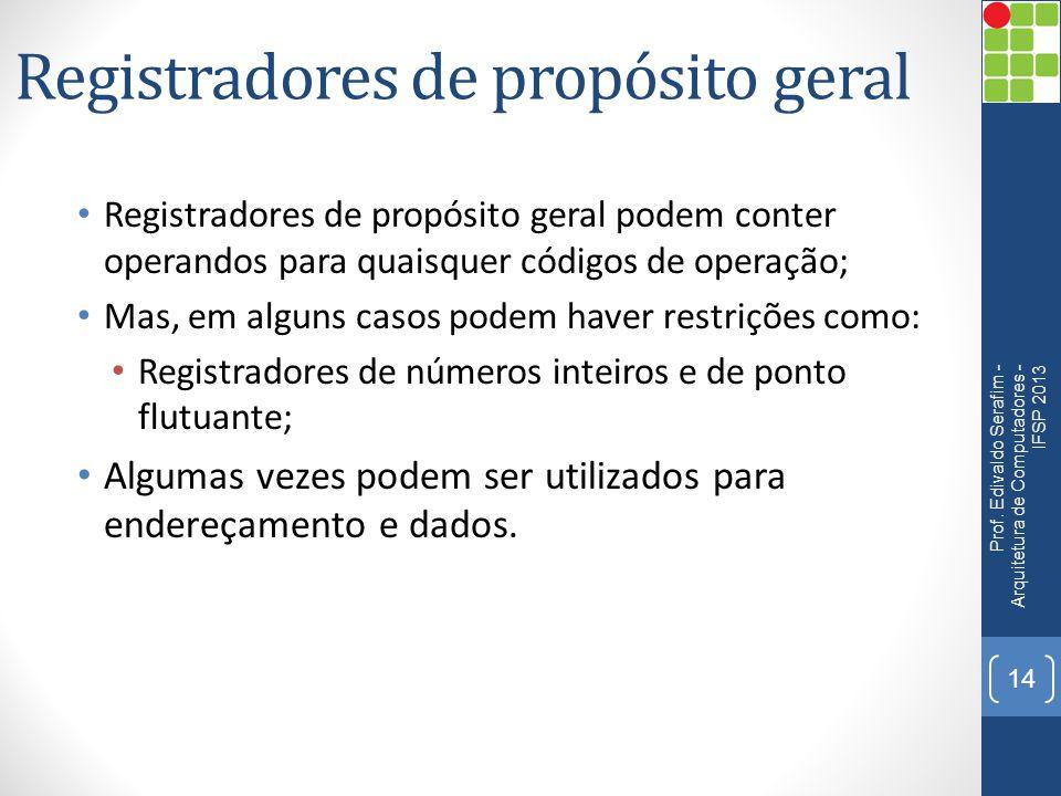 Registradores de propósito geral Registradores de propósito geral podem conter operandos para quaisquer códigos de operação; Mas, em alguns casos pode