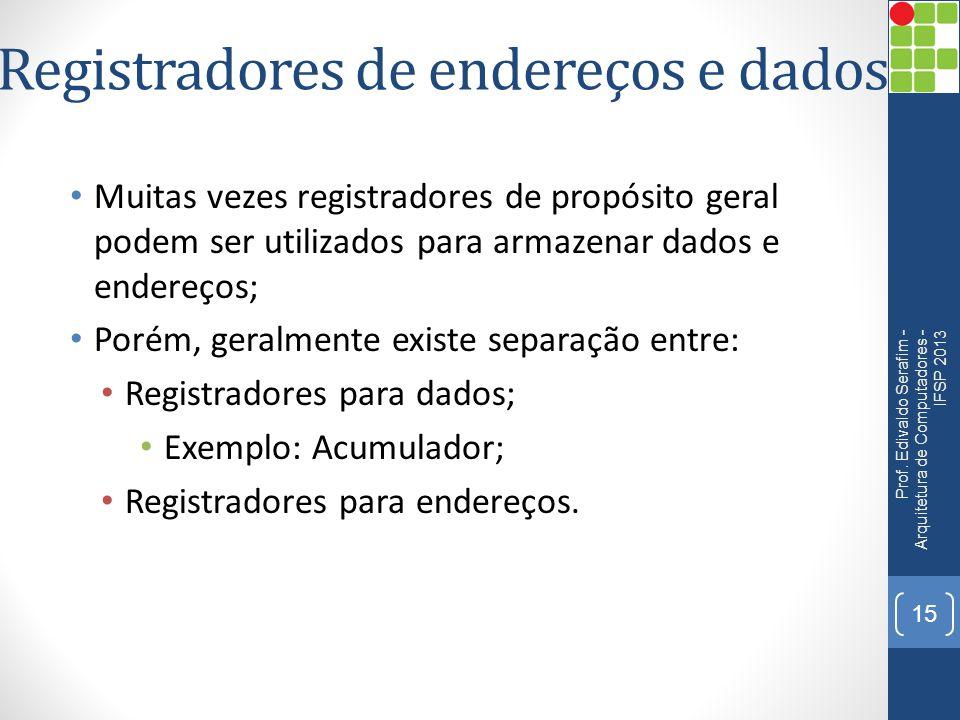 Registradores de endereços e dados Muitas vezes registradores de propósito geral podem ser utilizados para armazenar dados e endereços; Porém, geralmente existe separação entre: Registradores para dados; Exemplo: Acumulador; Registradores para endereços.