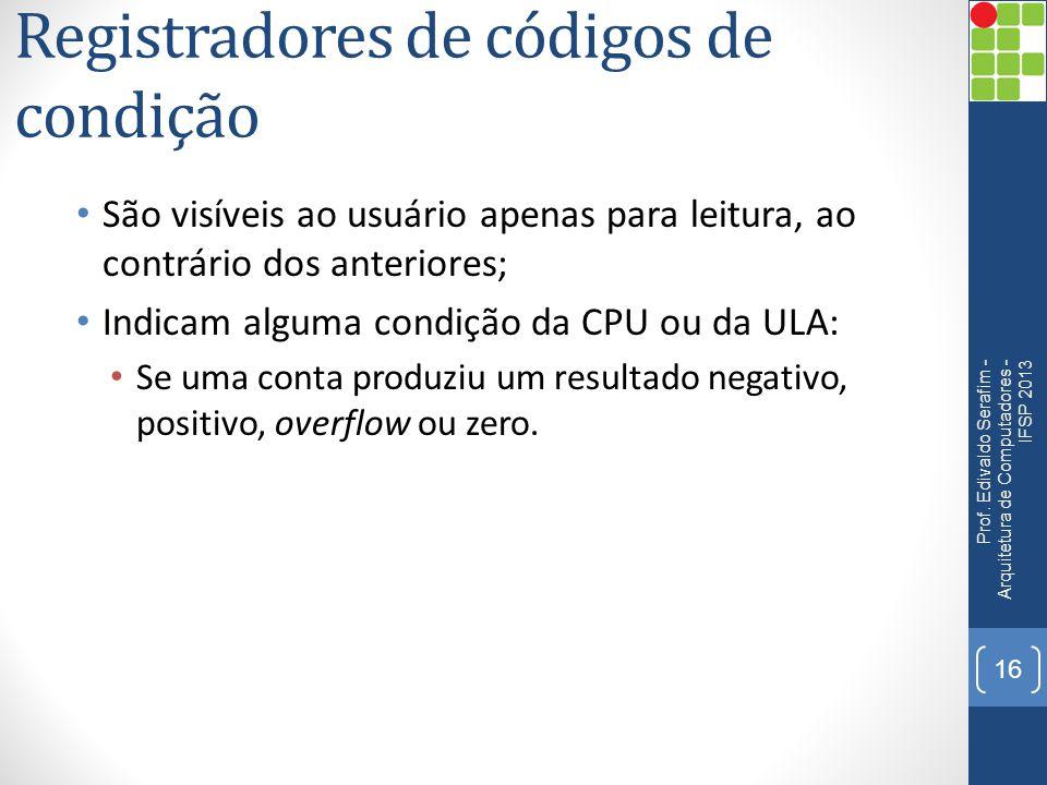 Registradores de códigos de condição São visíveis ao usuário apenas para leitura, ao contrário dos anteriores; Indicam alguma condição da CPU ou da UL
