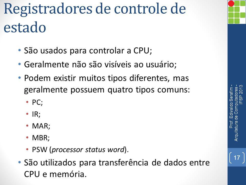 Registradores de controle de estado São usados para controlar a CPU; Geralmente não são visíveis ao usuário; Podem existir muitos tipos diferentes, mas geralmente possuem quatro tipos comuns: PC; IR; MAR; MBR; PSW (processor status word).