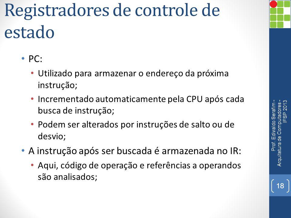 Registradores de controle de estado PC: Utilizado para armazenar o endereço da próxima instrução; Incrementado automaticamente pela CPU após cada busc