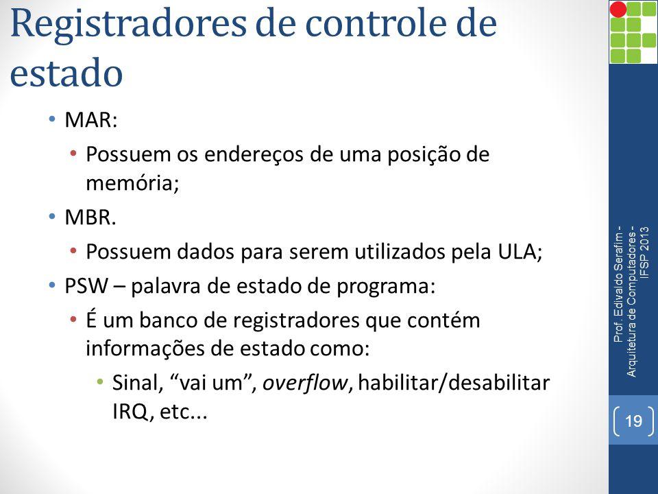 Registradores de controle de estado MAR: Possuem os endereços de uma posição de memória; MBR. Possuem dados para serem utilizados pela ULA; PSW – pala