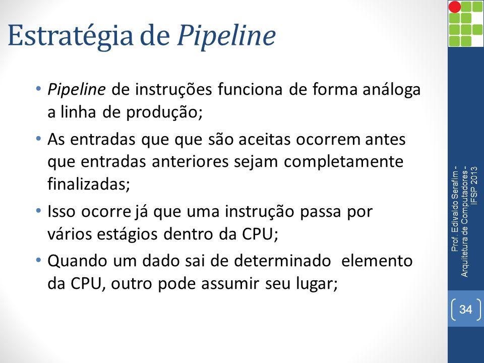 Estratégia de Pipeline Pipeline de instruções funciona de forma análoga a linha de produção; As entradas que que são aceitas ocorrem antes que entradas anteriores sejam completamente finalizadas; Isso ocorre já que uma instrução passa por vários estágios dentro da CPU; Quando um dado sai de determinado elemento da CPU, outro pode assumir seu lugar; Prof.