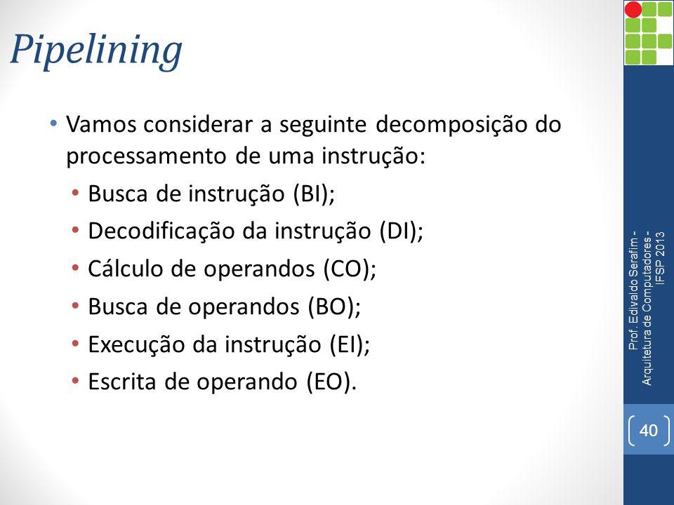 Pipelining Vamos considerar a seguinte decomposição do processamento de uma instrução: Busca de instrução (BI); Decodificação da instrução (DI); Cálcu