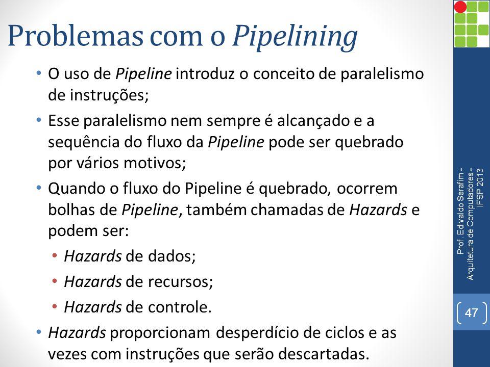 Problemas com o Pipelining O uso de Pipeline introduz o conceito de paralelismo de instruções; Esse paralelismo nem sempre é alcançado e a sequência d